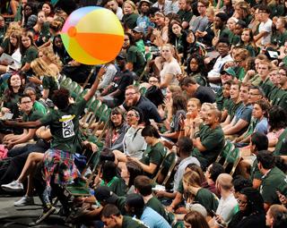 UNC Charlotte freshmen have fun at Monday's Convocation.