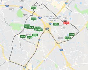 Redfin's Mallard Creek-Withrow Downs neighborhood boundaries