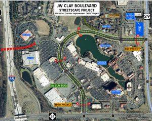 J.W. Clay Blvd. streetscape map