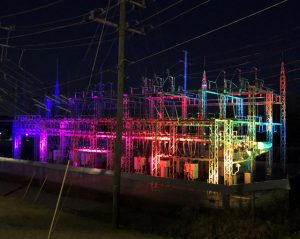 North Tryon Street substation with lights